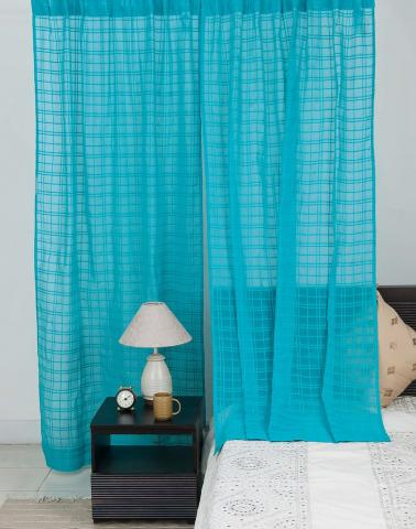 Blue Cotton Mull Woven Avani Check Curtain Window