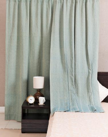 Green Cotton Woven Rati Curtain Window