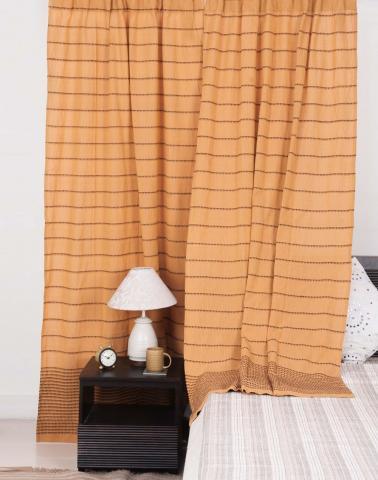 Yellow Cotton Woven Curtain Long Door