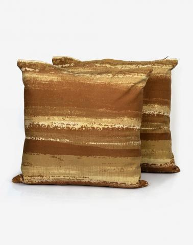 Brown Cotton Printed Brush Stroke Cushion Cover