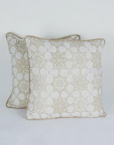 Natural Cotton Printed Cosmos Cushion Cover