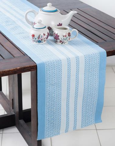 Blue Cotton Woven Beena Table Runner