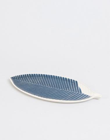 Blue Ceramic Leaf Platter