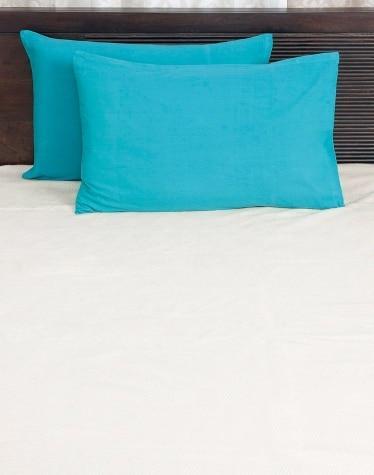 Blue Cotton Woven Plain Pillow Cover