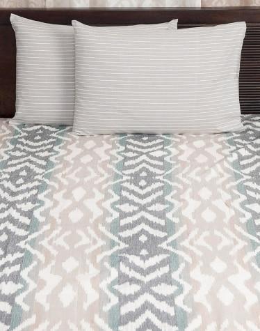 Grey Cotton Woven Nile Stripe Pillow Cover