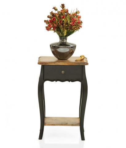 Dinan Side Table - Black, Natural