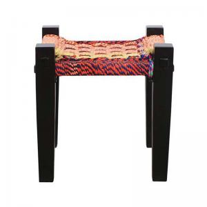 stool-in-mango-wood-legs-and-recycled-woven-fabric-seat - benches-stools-and-ottomans