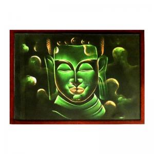 buddha-green-painting-wooden-border - fine-art-paintings