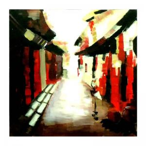 street-view-red-abstract-painting-leaf - fine-art-paintings