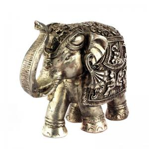 silver-coated-wax-elephantl - statues-sculptures-and-artifacts
