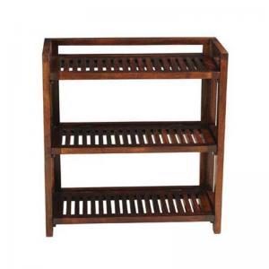 mango-wood-3-shelf-folding-rack - storage-and-shelves