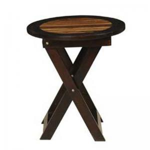 sheesham-2-tone-folding-round-dia-stool - benches-stools-and-ottomans