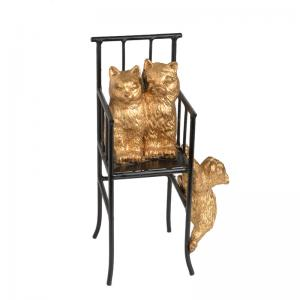 three-cats-on-a-high-chair - statues-sculptures-and-artifacts