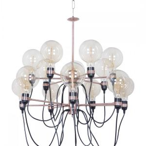 modern-art-14-suspended-holders-2-step-copper-finished-chandelier - chandeliers