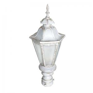 pristine-white-gold-traditional-cast-aluminium-small-gate-light - outdoor-lighting