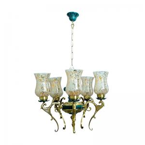 regal-green-patina-and-golden-5-light-chandelier - fos-lighting