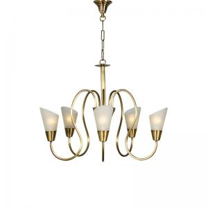 modern-cone-antique-brass-chandelier - fos-lighting