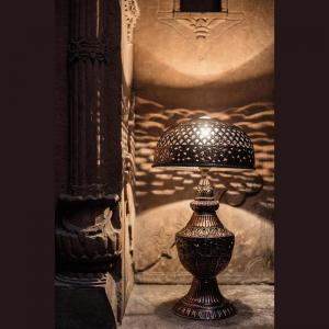 jodhpur-hand-tooled-copper-table-lamp - table-lamps