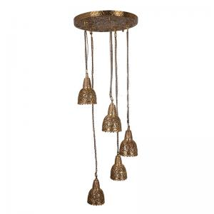aesthetically-hand-carved-5-light-spiral-cluster-hanging-light - fos-lighting