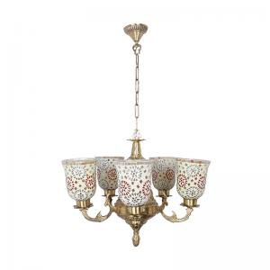 priya-5-light-brass-chandelier-with-tilak-mosaic-glass-shades - fos-lighting