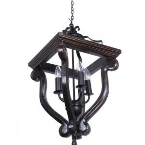 coastal-4-light-stained-wood-and-wrought-iron-foyer-pendant-light - fos-lighting