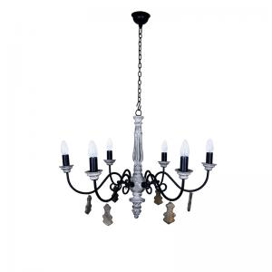chic-french-country-small-6-light-rustic-white-chandelier - chandeliers