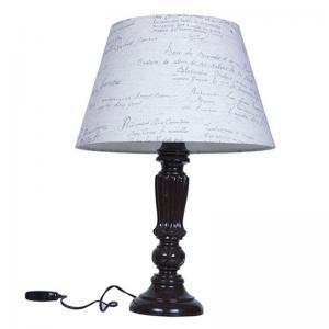 brown-distressed-country-table-lamp-with-calligraphy-shade - table-lamps