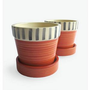 rust-with-line-small-planter-w-tray-rustgrey - vases-and-planters