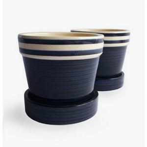 sapphire-blue-with-stripe-small-planter-w-tray-safari-blue - vases-and-planters