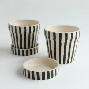 black-and-white-stripe-small-planter-w-tray-blackwhite - vases-and-planters
