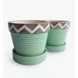 mint-with-zig-zag-small-planter-w-tray-mintgrey - vases-and-planters