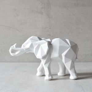 ollie-geometric-white-elephant-sculpture - statues-sculptures-and-artifacts