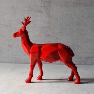 burton-geometric-red-stag-sculpture - statues-sculptures-and-artifacts