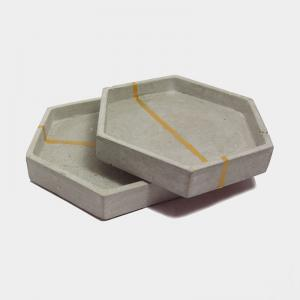 hex-concrete-coaster-tray - desk-decor