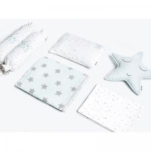 sleepy-star-blue-crib-set-with-dohar - kids-bed-and-bath