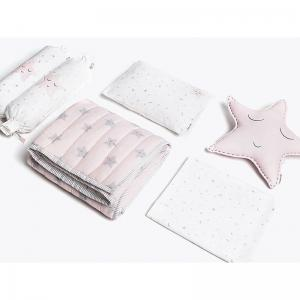 sleepy-star-pink-crib-set-with-quilt - kids-bed-and-bath