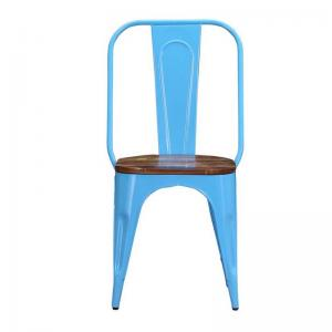 iron-chair-sky-blue-finish-with-wooden-seat - chairs