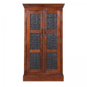 handcrafted-almirah-wardrobe-in-honey-oak-finish - wardrobes