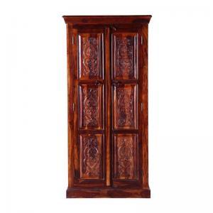 arabic-handcrafted-two-door-wardrobe-in-honey-oak - wardrobes