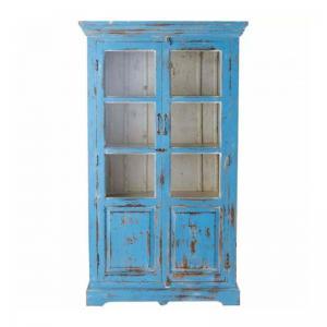 vintage-mango-wood-wardrobe-blue - wardrobes