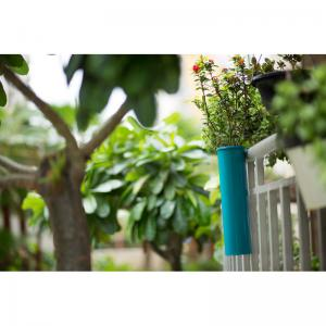 hang-on-balcony-planter-teal-blue - vases-and-planters