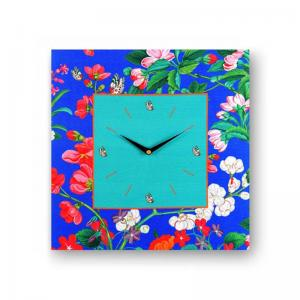 floral-dark-blue-framed-analogue-wall-clock - wall-clocks