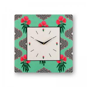 floral-green-framed-analogue-wall-clock-white - wall-clocks
