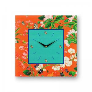 floral-orange-framed-analogue-wall-clock - wall-clocks