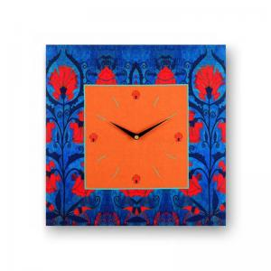 floral-blue-orange-framed-analogue-wall-clock - wall-clocks
