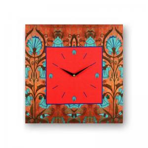 floral-brown-framed-analogue-wall-clock - wall-clocks