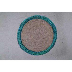 hand-woven-green-coino-circular-carpet-120rd - rugs-and-carpets