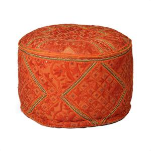 embroidered-pouf-orange - benches-stools-and-ottomans