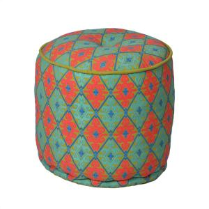 embroidered-pouf - benches-stools-and-ottomans
