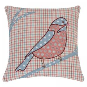 home-boutique-bird-patch-cushion-cover-maroon - kids-decor